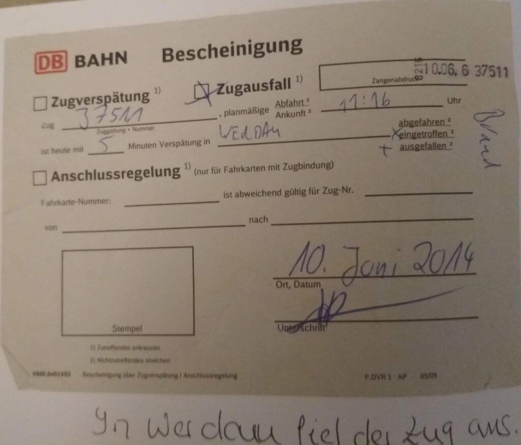 Zugverspätung in Werdau (c) radelei.de