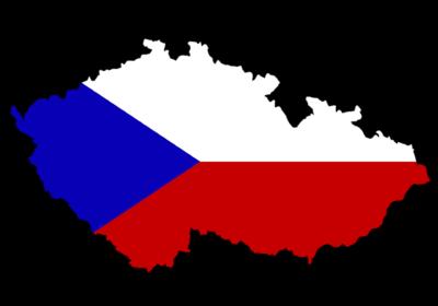 Die Landesfarben der Tschechischen Republik auf der Karte