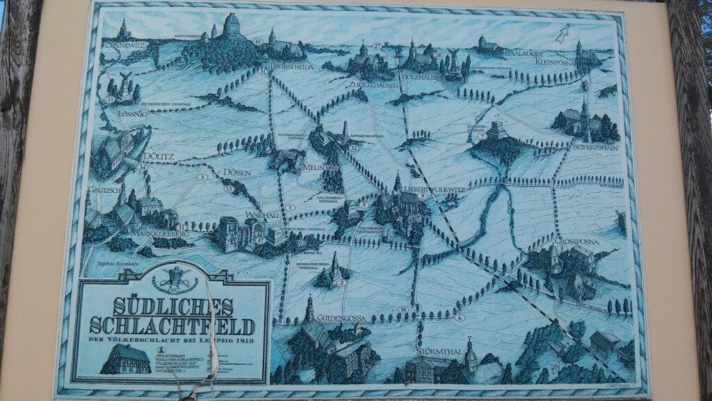 Karte Südliches Schlachtfeld Völkerschlacht 1813 (c) radelei.de
